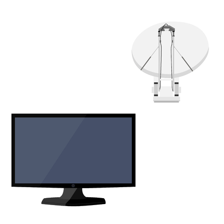Vector satellite dish tv antenna, television antenna, new modern lcd TV monitor icon set. Realistic satellite antenna