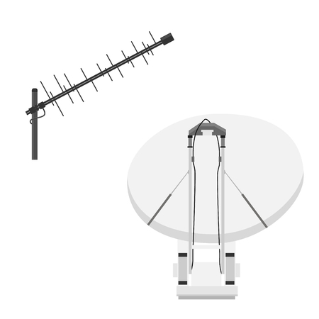 Vector tv antenna, realistic satellite antenna TV router, tv isometric icons