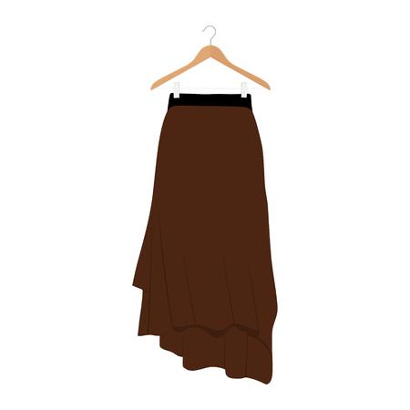 Vector brown skirt template, design fashion woman illustration. Women skirt on hanger