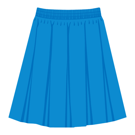 Vector blue skirt template, design fashion woman illustration. Women box pleated skirt Ilustração