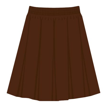 Vector brown skirt template, design fashion woman illustration. Women box pleated skirt