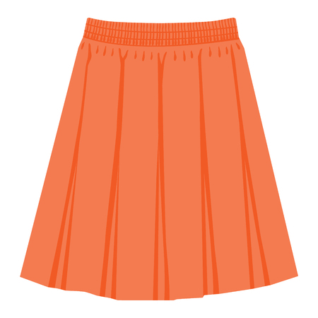 Vector orange skirt template, design fashion woman illustration. Women box pleated skirt