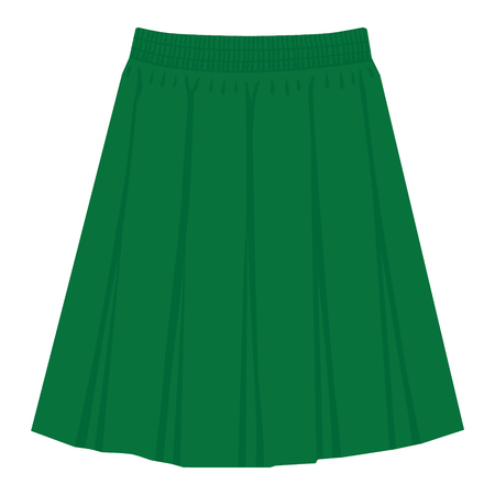 Vector green skirt template, design fashion woman illustration. Women box pleated skirt Stock Illustratie