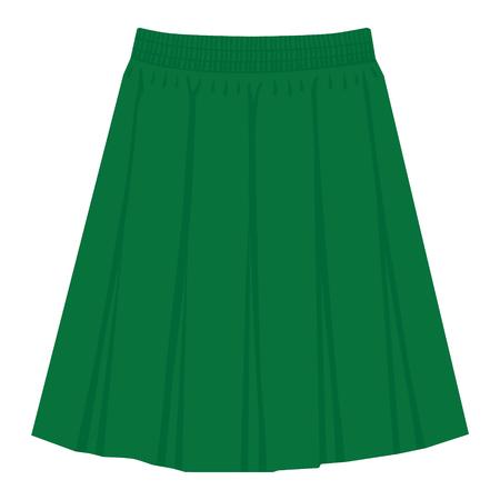 Vector groene rok sjabloon, ontwerp mode vrouw illustratie. Geplooide rok voor dames Vector Illustratie