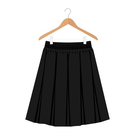 Vector black skirt template, design fashion woman illustration. Women box pleated skirt on hanger Ilustração