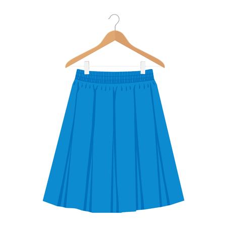 Vector blue skirt template, design fashion woman illustration. Women box pleated skirt on hanger
