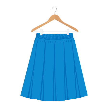Vector blue skirt template, design fashion woman illustration. Women box pleated skirt on hanger