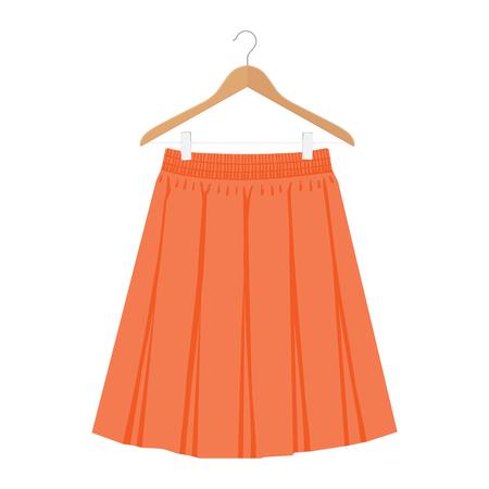 Modèle de jupe orange de vecteur, illustration de femme de mode de conception. Jupe plissée box femme sur cintre