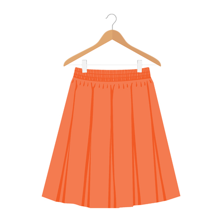 Vector orange skirt template, design fashion woman illustration. Women box pleated skirt on hanger