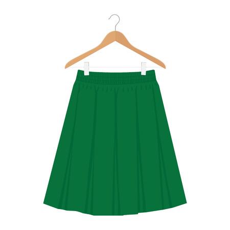 Vector green skirt template, design fashion woman illustration. Women box pleated skirt on hanger