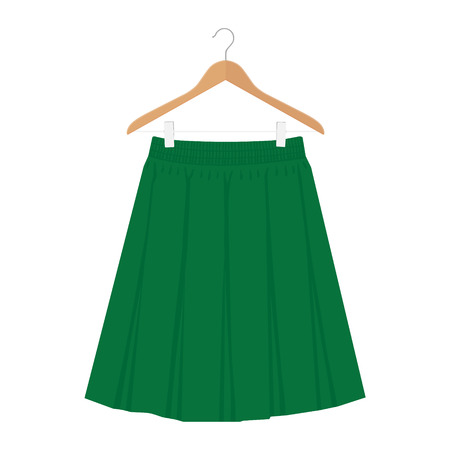 Vector green skirt template, design fashion woman illustration. Women box pleated skirt on hanger