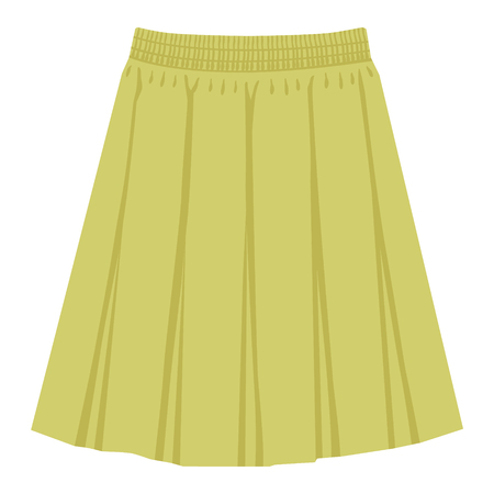 Vector green skirt template, design fashion woman illustration. Women box pleated skirt Ilustração