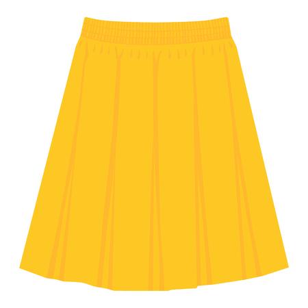 Vector yellow skirt template, design fashion woman illustration. Women box pleated skirt Ilustração