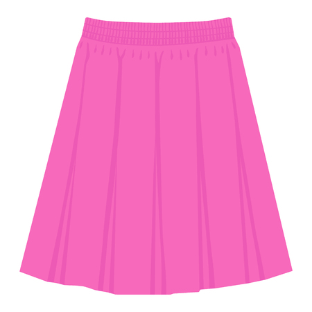 Vector pink skirt template, design fashion woman illustration. Women box pleated skirt