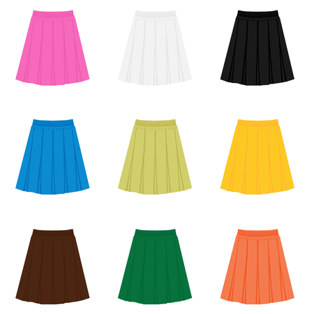 Vector skirt template, design fashion woman illustration. Women box pleated skirt set, collection
