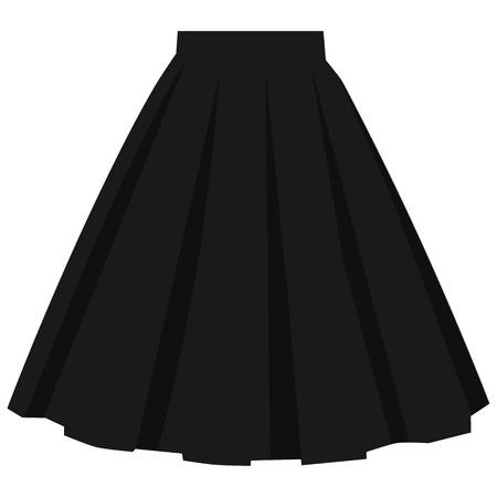Vector black skirt template, design fashion woman illustration. Women bubble skirt