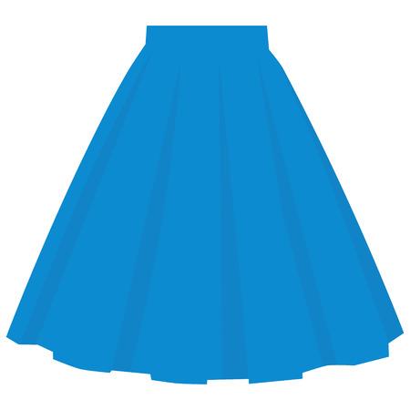Modèle de jupe bleue de vecteur, illustration de femme de mode de conception. Jupe bulle femme