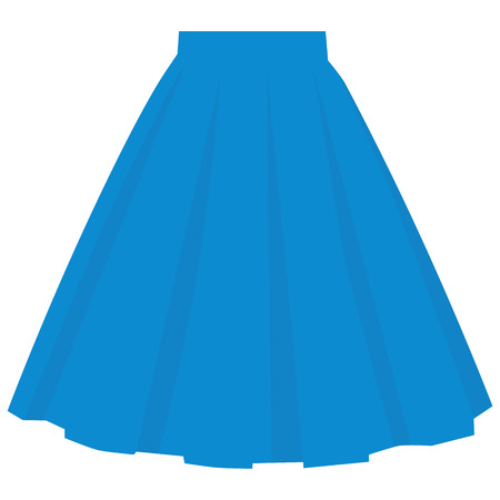 Vector blue skirt template, design fashion woman illustration. Women bubble skirt
