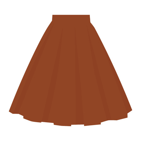 Vector brown skirt template, design fashion woman illustration. Women bubble skirt Ilustração