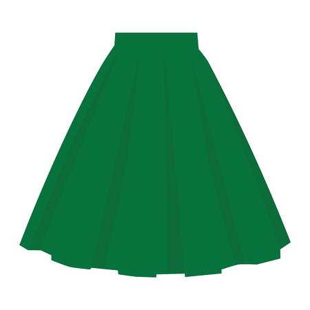 Vector green skirt template, design fashion woman illustration. Women bubble skirt