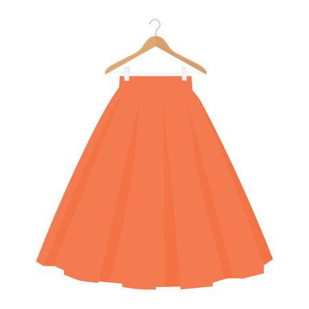 Vector orange skirt template, design fashion woman illustration. Women bubble skirt on hanger