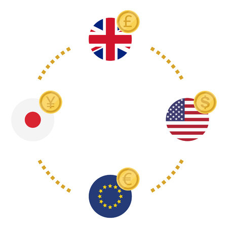 Excange icon. UK pound, USA dollar, EU euro and Japan yen