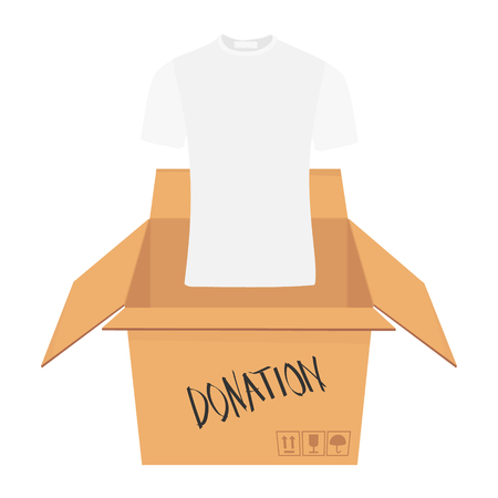 Donation Concept. Donate Box full of Clothes Illustration