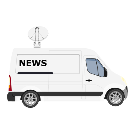 TV News car with equipment on the roof. Van on isolated background. Vector illustration Çizim