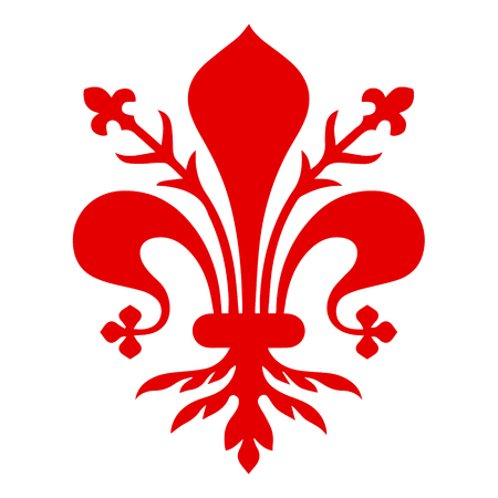Flag of Florence. Coat of arms of Florence - Tuscany. The fleur de lis of Florence, symbol of Florence, Italy,heraldic, seal vector 免版税图像 - 125817847