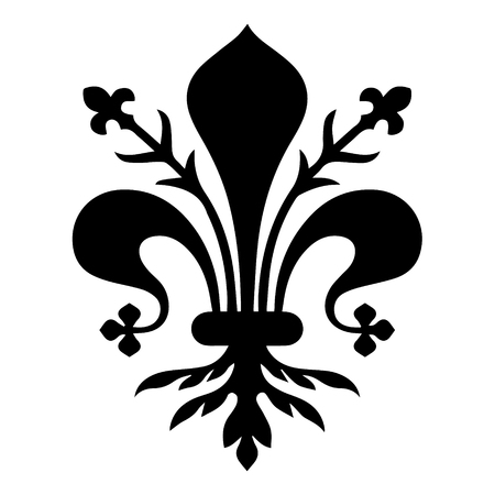 Flag of Florence. Coat of arms of Florence - Tuscany. The fleur de lis of Florence, symbol of Florence, Italy,heraldic, seal vector Ilustração