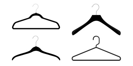 Plastic and metal wire coat hangers, clothes hanger on a white background Illustration
