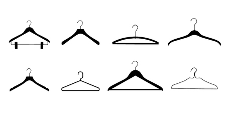 Plastic and metal wire coat hangers, clothes hanger on a white background Иллюстрация