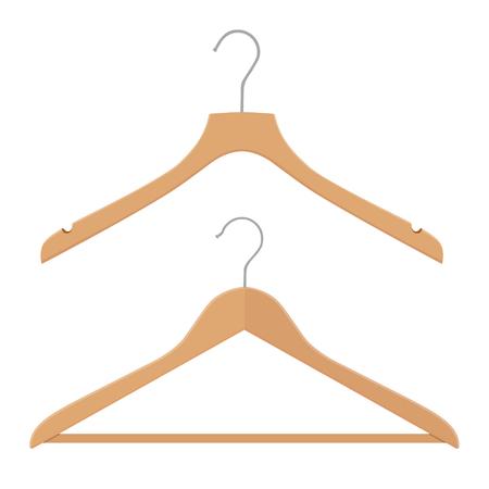 Wooden coat hanger, clothes hanger on a white background Illustration
