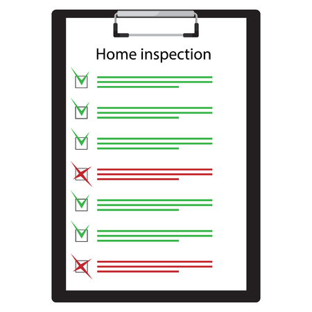 Home inspection checklist paper on clipboard. Real Estate Inspection Report