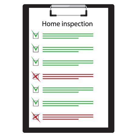 Papier de liste de contrôle d'inspection à domicile sur le presse-papiers. Rapport d'inspection immobilière