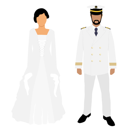 Woman in white wedding dress and man captain in white uniform
