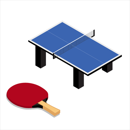 table tennis and racket isolated on white background Illustration