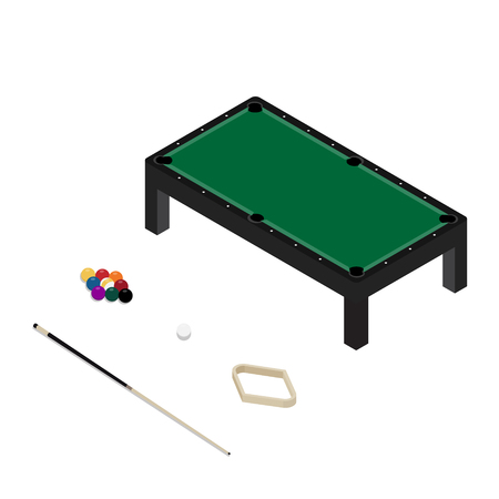 Vector illustration realistic pool table with set of billiard balls and cue. Billiard table with green cloth isometric 3d perspective Stock Illustratie