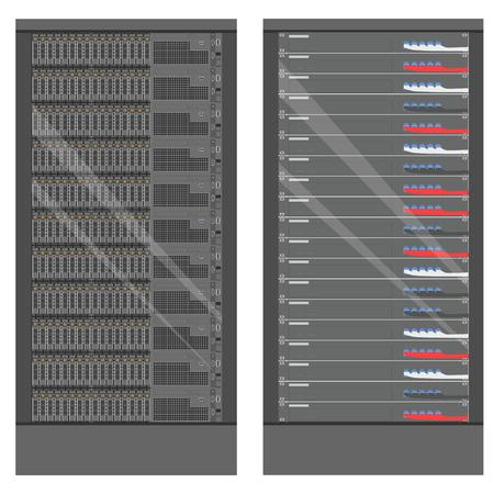 Network workstation server room concept. Server racks