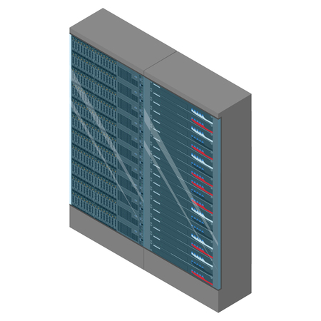 Network workstation server room concept. Server racks
