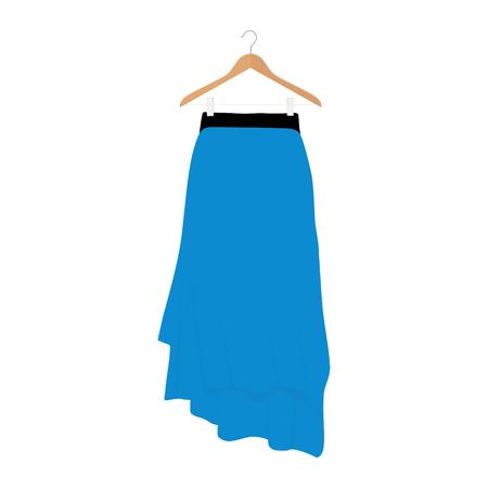 Vector blue skirt template, design fashion woman illustration. Women skirt on hanger