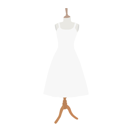 Wedding dress collection. White dress on mannequin.