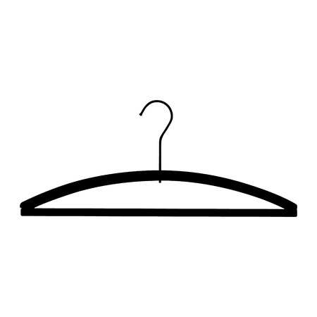 Black plastic coat hanger, clothes hanger on a white background
