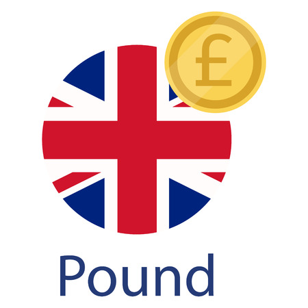 UK round flag and currency symbol GBP. United States of Great Britain flag and pound golden coin. Currency exchange money icon