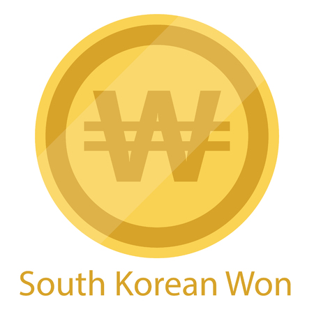 Golden South Korean Won coin isolated on white background. South Korea