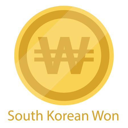 Golden South Korean Won coin isolated on white background. South Korea