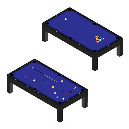 Vector illustration realistic pool table with set of billiard balls and cue. Billiard table with blue cloth isometric 3d perspective Stock Illustratie
