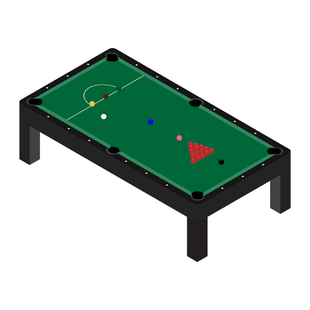 Vector illustration realistic snooker pool table with set of billiard balls and cue. Billiard table with green cloth isometric 3d perspective Stock Illustratie