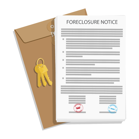 Foreclosure notice, envelope and keys. Raster illustration.