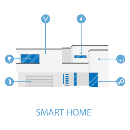 Mobile phone Smart Home House app application concept. Home automation system. Raster illustration